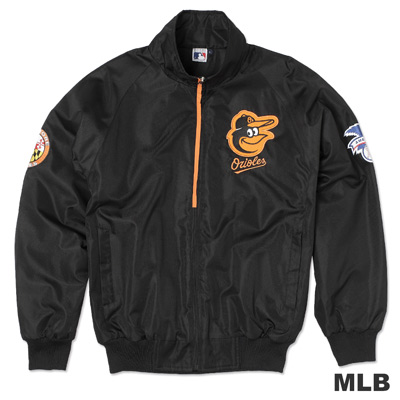 MLB-巴爾的摩金鶯隊立領內刷毛風衣外套-黑(男)