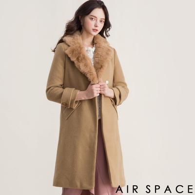 AIR SPACE 毛毛翻領長版羊毛大衣外套(卡其)