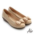 A.S.O 紓壓氣墊 真皮蝴蝶結串珠奈米低跟鞋 粉紅色
