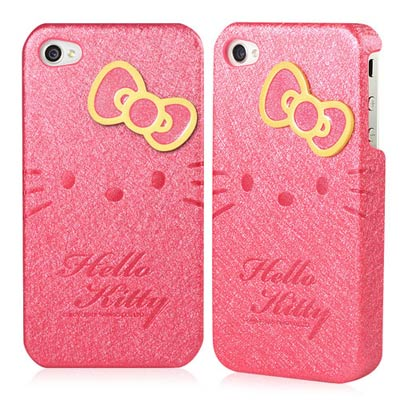 Hello Kitty for iPhone 4/4S貼皮式保護背蓋-甜心桃