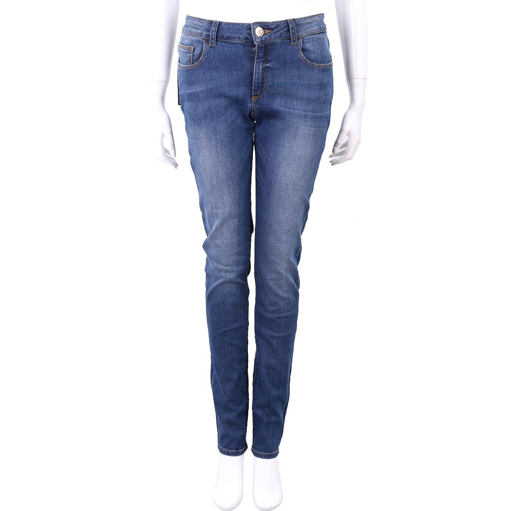TRUSSARDI 後口袋鑲珠細節刷白窄管單寧牛仔褲