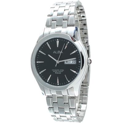 ALBA 經典素面數字腕錶(AXHL03X1)-黑/38mm