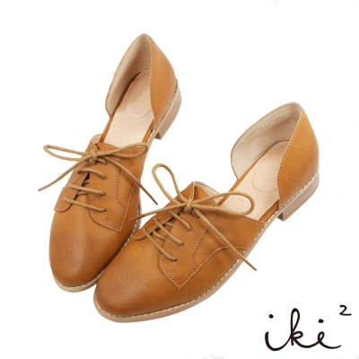 iki2-獨特真皮親膚平底休閒鞋-咖