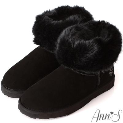 Ann'S可愛刺繡小雪花可反折素面全真皮雪靴-黑