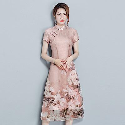 古典雅緻立領盤扣印花旗袍連衣裙M~2XL-REKO