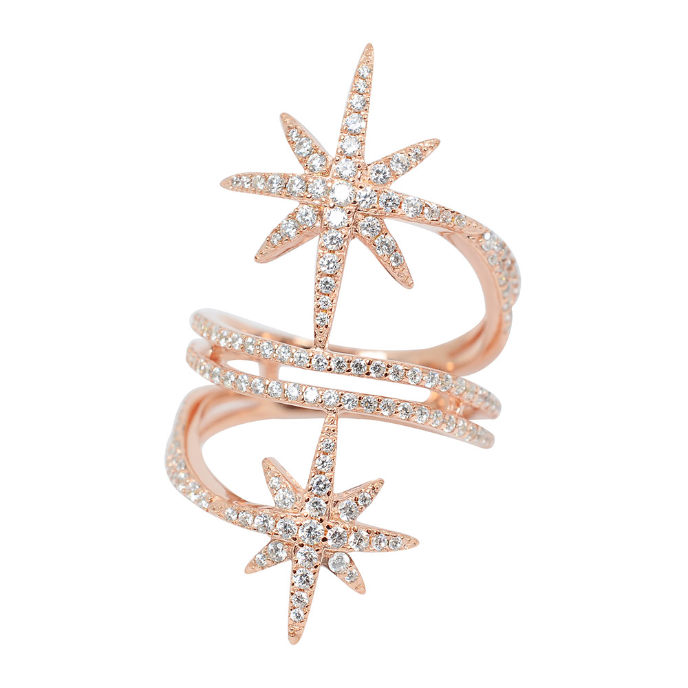 apm MONACO法國精品珠寶 優雅玫瑰金雙繁星鑲鋯戒指