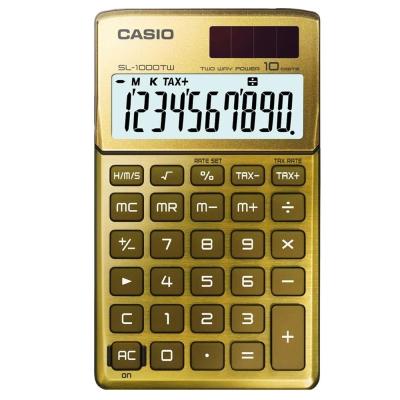 CASIO 10位元Stylish閃耀金屬光攜帶型計算機(尊貴金)SL-1000TW-GD