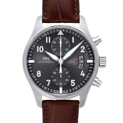 (現金分期24期) IWC 萬國錶 飛行員噴火戰機計時灰面咖啡限定版x43mm