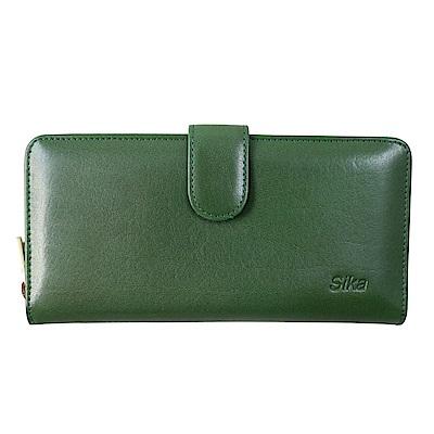 Sika義大利時尚真皮拉鍊壓扣長夾A8251-08深墨綠