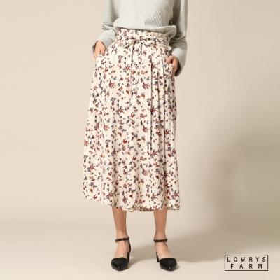 LOWRYS-FARM素面碎花高腰綁帶七分寬褲褲裙-五色