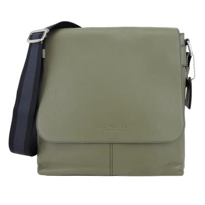 COACH-壓印LOGO全皮革翻蓋磁釦扁型斜背包-綠