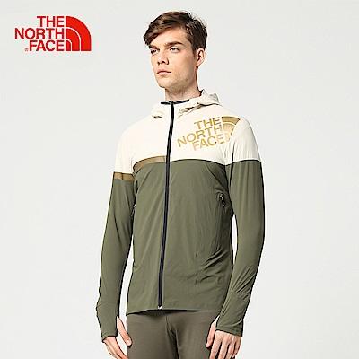 The North Face北面男款綠色防潑水運動輕量風衣