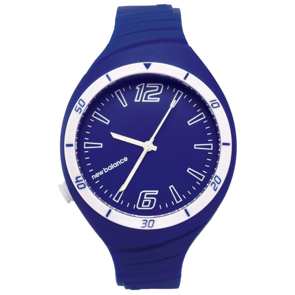 New Balance 502系列 NB LOGO運動秒針矽膠造型錶-藍銀/40mm