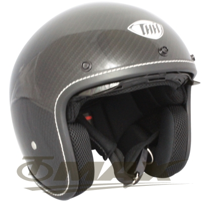 THH新一代仿纖維墨鏡縫邊半罩安全帽T383A(亮光)+贈短護目鏡+免洗內襯套6入