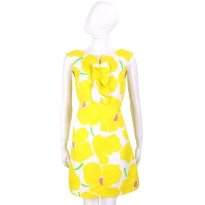 BOUTIQUE MOSCHINO 檸檬黃浮雕花朵印花無袖洋裝