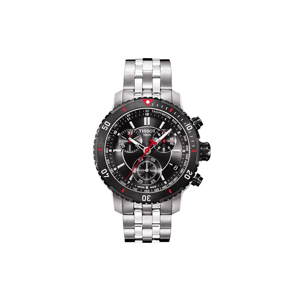 TISSOT PRS200 競賽傳奇計時腕錶-灰黑/黑錶圈/42mm