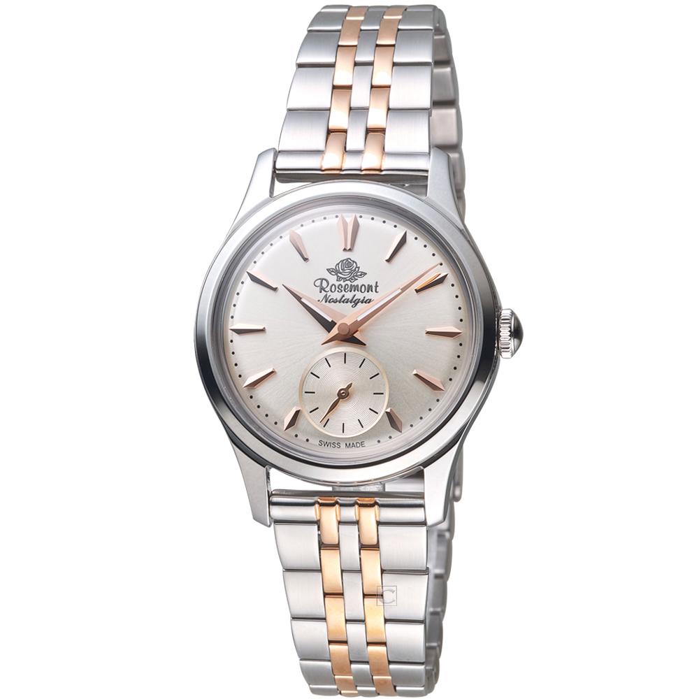 Rosemont 玫瑰錶 玫瑰米蘭系列小秒針女錶-白x雙色版/32mm