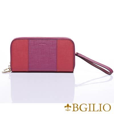 義大利BGilio-十字紋牛皮(深淺雙色)雙層拉鍊長夾-桃紅色1946.333-14