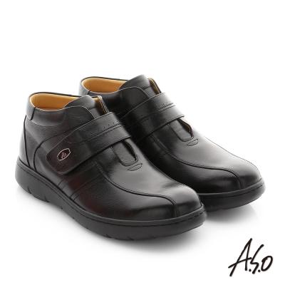A.S.O 職場通勤 3E寬楦牛皮魔鬼氈半高筒紳士皮鞋 黑色