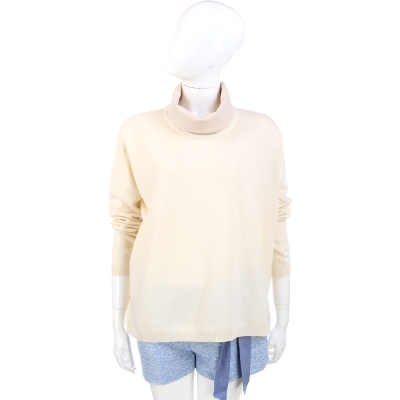 FABIANA FILIPPI 米白色拼接設計高領羊毛長袖上衣(75%LANA)