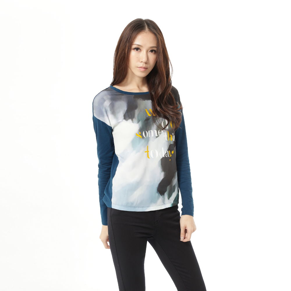 Lee 印花長袖圓領T恤 -女款-藍