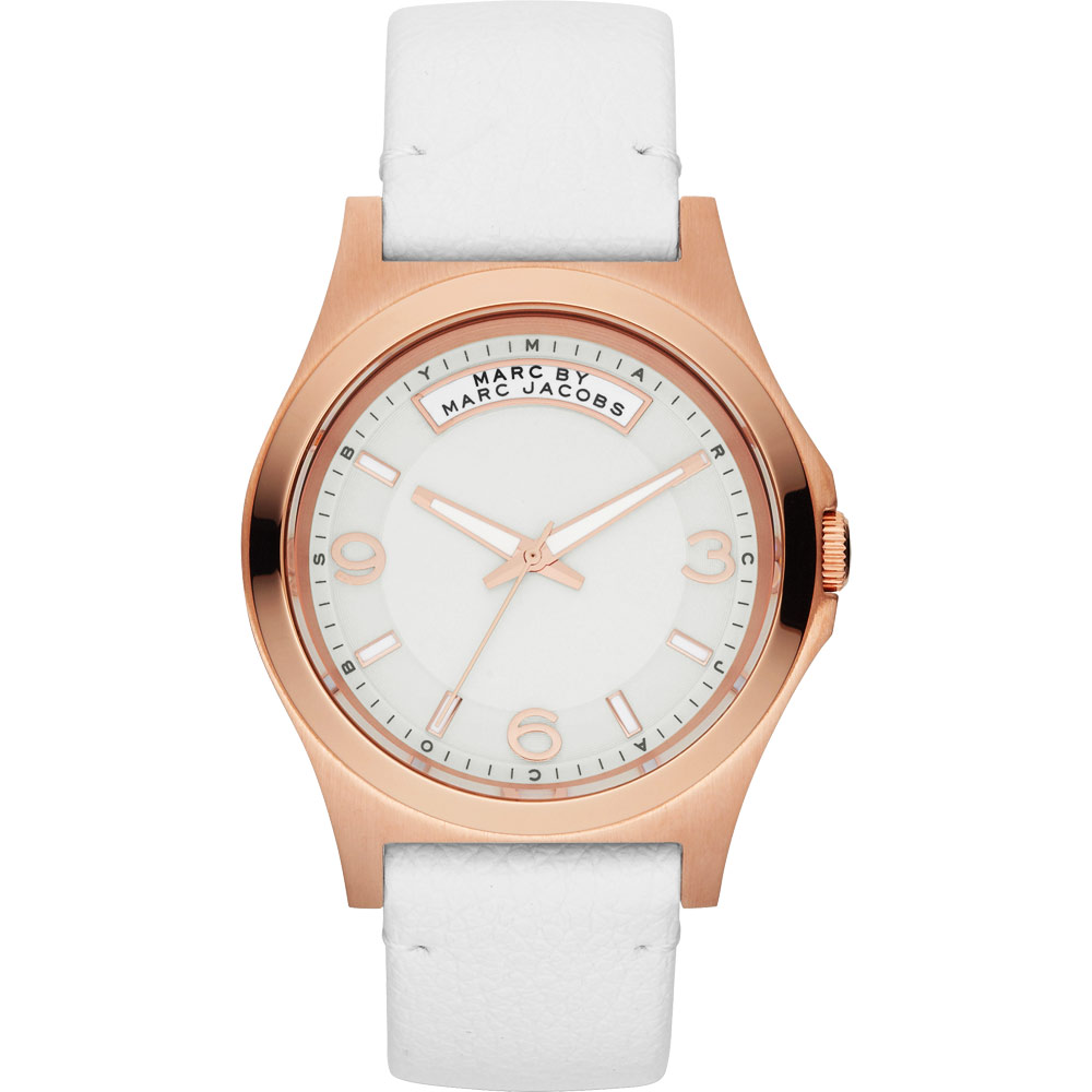 Marc Jacobs 時尚彩豔青春魅力腕錶-白x玫塊金框/40mm