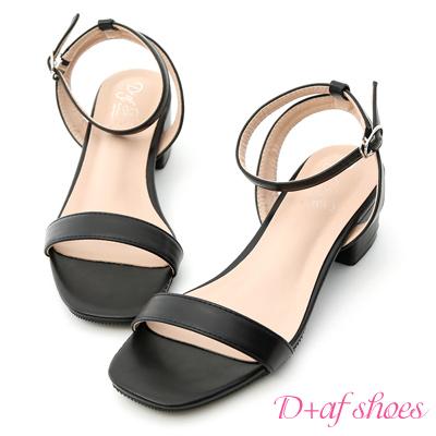D+AF 夏日甜心.粉彩一字繫踝低跟涼鞋*黑