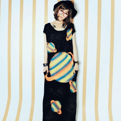 【La Belleza 中大尺碼】古著‧土星星球潑墨棉洋裝