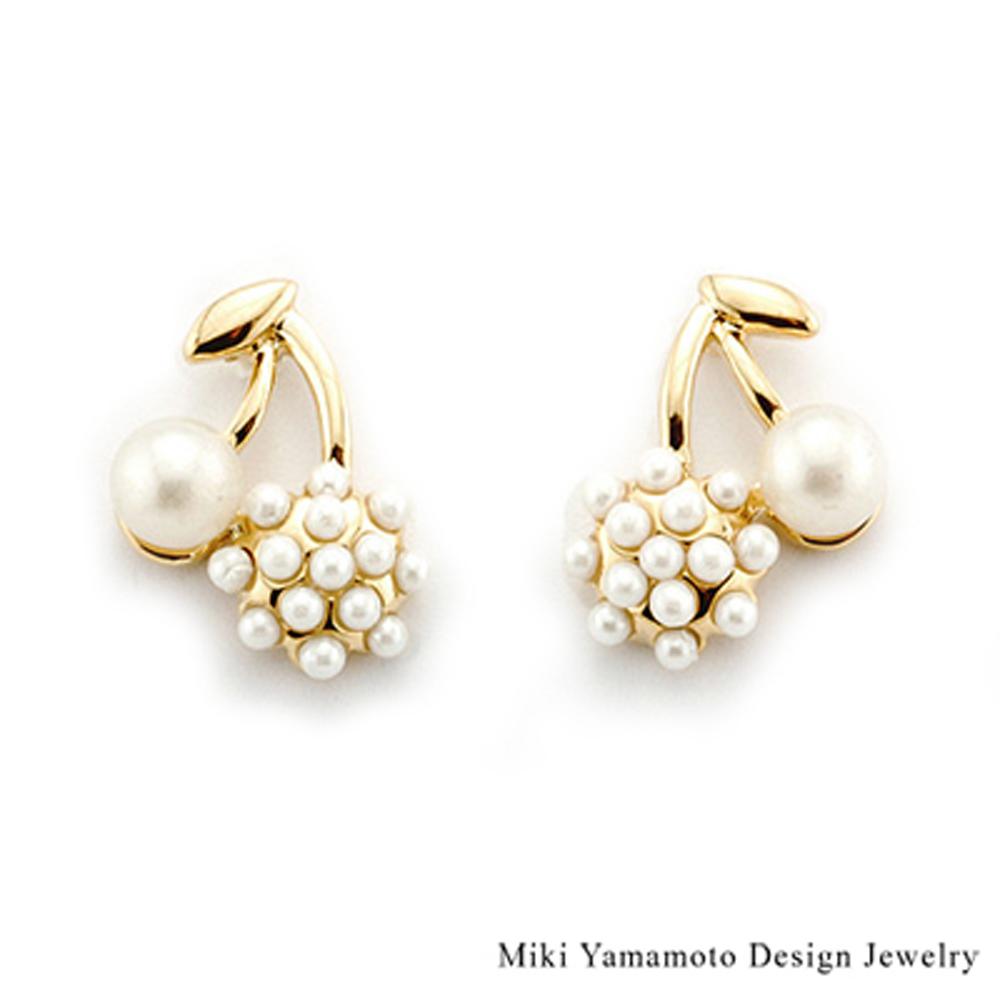 【山本美樹】純白果實  貝寶珠針式耳環