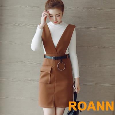 小立領針織上衣-細腰帶連衣裙兩件套-共三色-ROANN