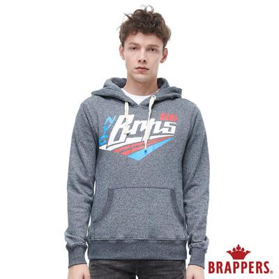 BRAPPERS 男款 運動風logo連帽長袖上衣-花紗藍