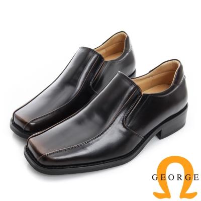GEORGE 喬治-漸層刷色真皮方頭紳士鞋-古銅色