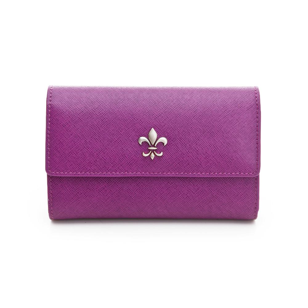 義大利BGilio 青春十字紋牛皮系列之釦式中夾 - 紫色1713.306-10