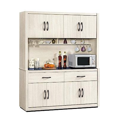 品家居 蜜莉雅5.3尺橡木紋玻璃餐櫃組合-157.6x41.8x197.2cm免組