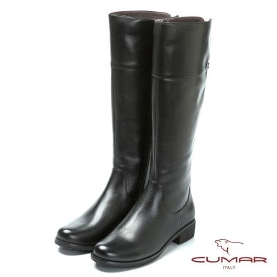 CUMAR舒適真皮 經典造型真皮長靴-黑色