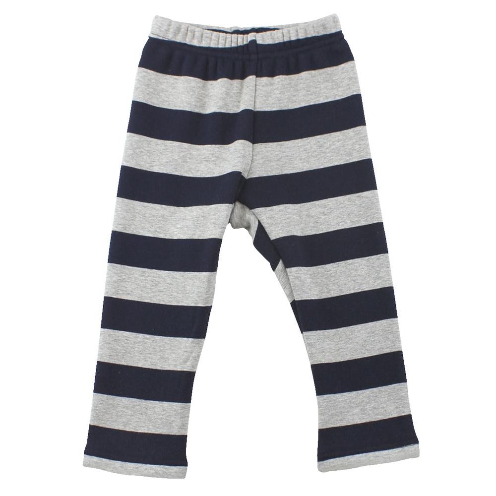 愛的世界 pappa&ciccia 橫紋內刷毛緊身長褲-藏青/1~3歲