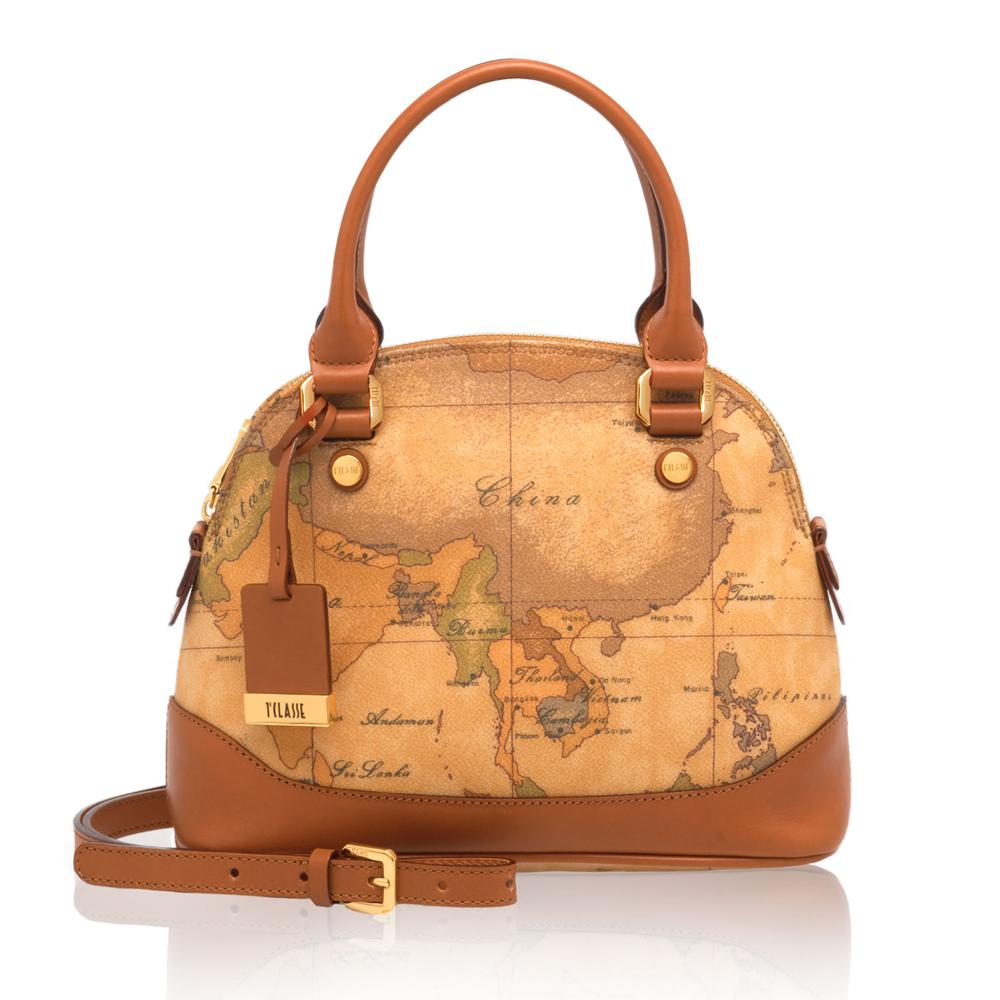 Alviero Martini 義大利地圖包 手提側背兩用貝殼包(大)-地圖黃