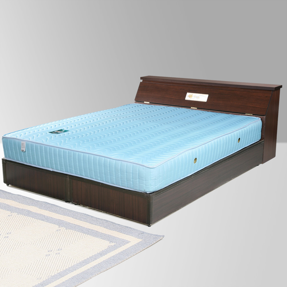 Homelike 席歐6尺床組+獨立筒床墊-雙人加大(二色任選)