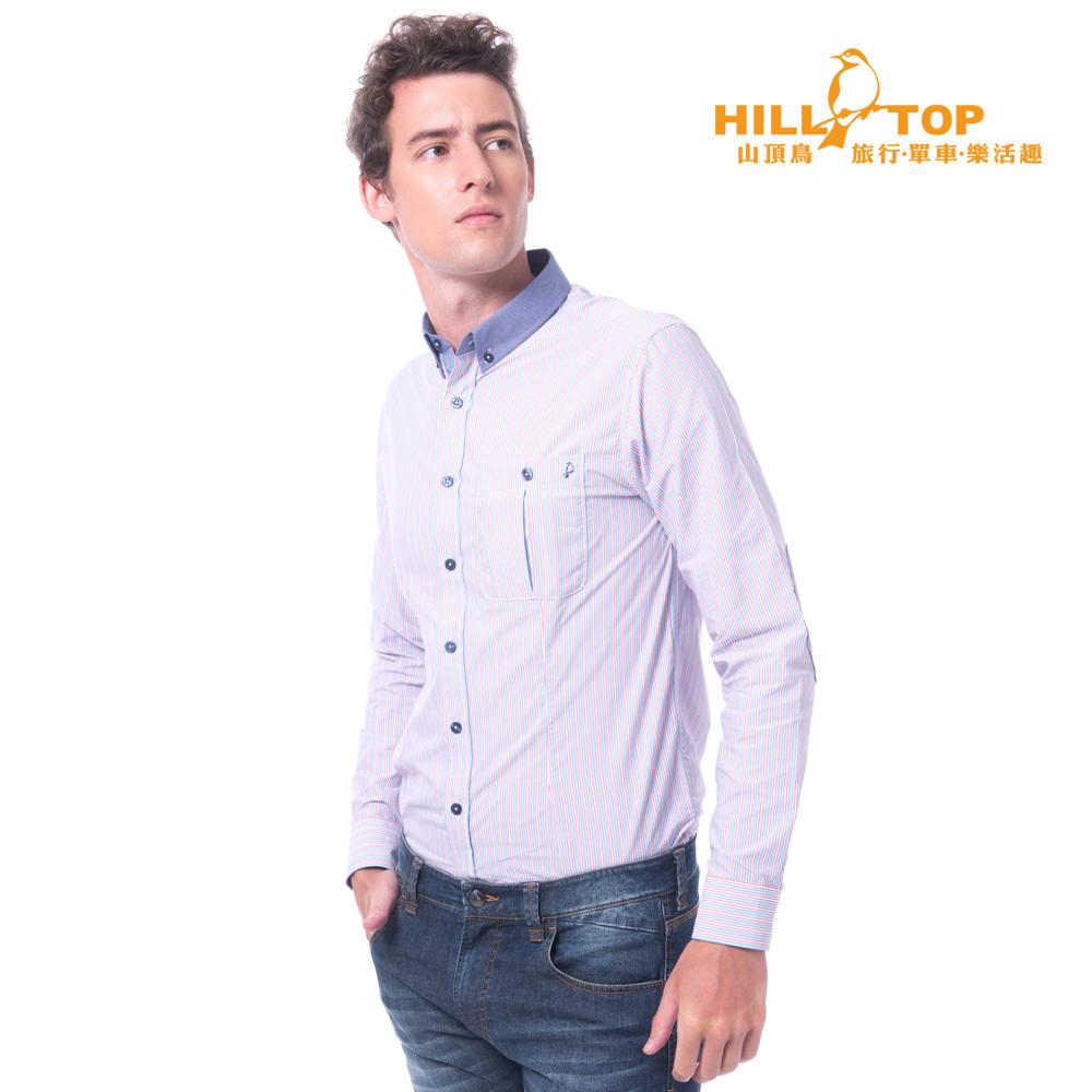 【hilltop山頂鳥】男款吸濕排汗抗UV抗菌長袖襯衫S05M62藍紅直條紋