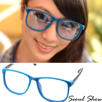 Seoul-Show-時尚亮眼毛絨-方圓框平光眼鏡-301藍色