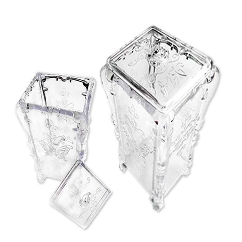 水晶蝴蝶抽取式化妝棉盒透明收納盒