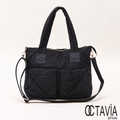 OCTAVIA - 萬能的 雙口袋鋪棉車線大托特包 - 忙碌黑