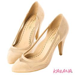 KAZANA魅力釋放-性感脣形網紗尖頭高跟鞋 杏