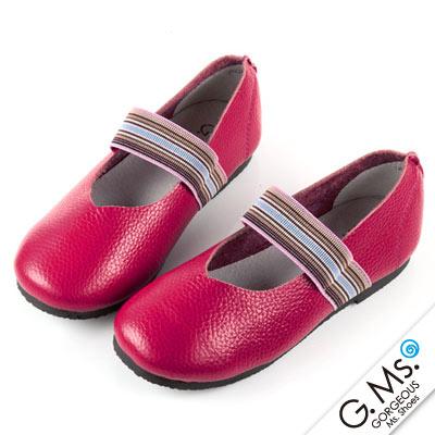 G.Ms. 親子鞋-繽紛鬆緊帶圓頭牛皮休閒鞋-桃紅