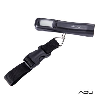 AOU 多功能日本YKK扣具行李秤 攜帶式手提行李電子秤(個性黑)66-027