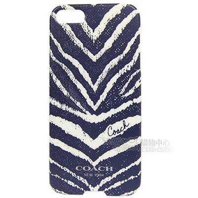 COACH 斑馬紋iPhone5手機保護殼(深藍)