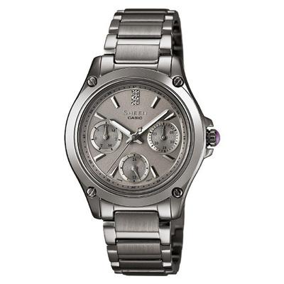 CASIO SHEEN系列 極簡典雅水晶三眼鑽錶-鐵灰-37mm