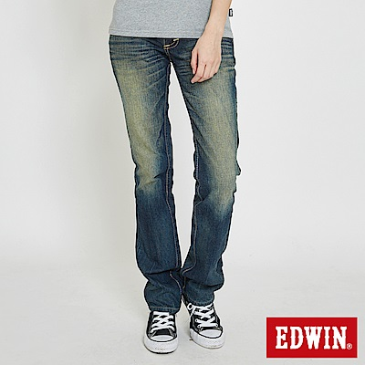 EDWIN BLUE TRIP袋蓋中直筒牛仔褲-女-中古藍