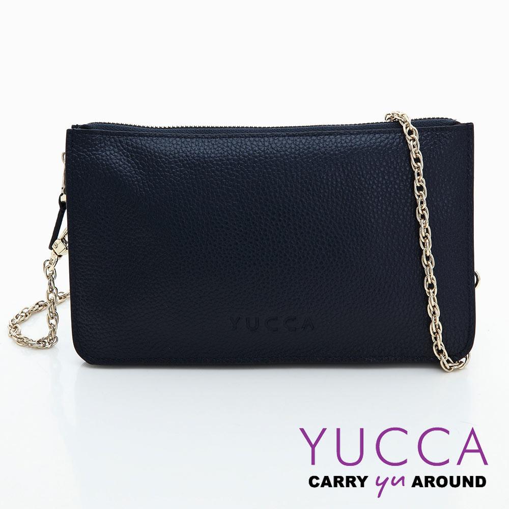 YUCCA - 牛皮淑女優雅手拿鏈帶包-深藍色D0020071009