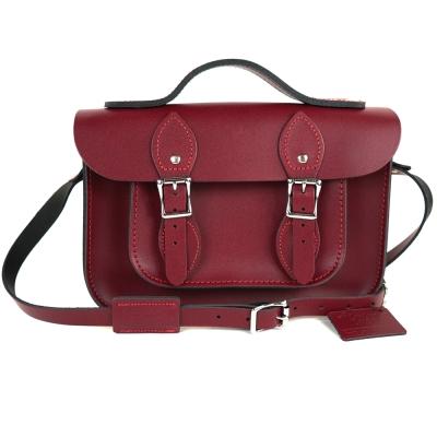 The Leather Satchel 英國手工牛皮劍橋包 肩背手提包 葡萄紅 11吋